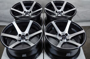 15x8 Wheels Corolla Cooper Civic Accord Escort Miata Jetta Spark Black Rim 4 Lug