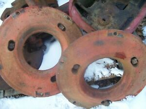 Vintage Fordson Major Diesel Tractor 2 Starter Rear Wheel Weights 1954