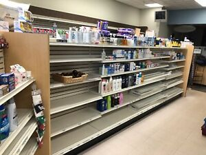 Retail Drug Pharmacy Store Gondola Wall Shelving For A 3000 Sqft Area 1 Year Old