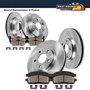 Front And Rear Oe Brake Rotors Low Dust Ceramic Pads For Chevy Pontiac