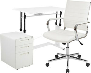 3pc Office Set adjustable Desk Leathersoft Office Chair Filing Cabinet