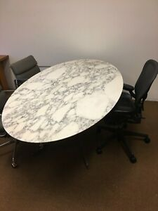 Florence Knoll 78in Calacatta Marble Oval Dining Conference Table
