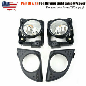 Pair Lh Rh For 2009 2010 Acura Tsx 2 4 3 5l Fog Driving Light Lamp W Cover