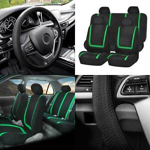 Flat Cloth Car Seat Covers Full Set Green W black Silicone Steering Wheel Cover