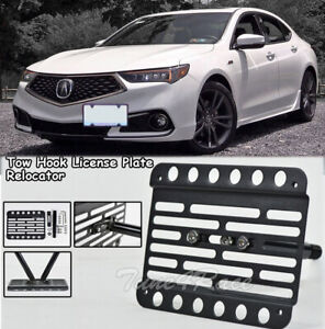 For 18 up Acura Tlx Front Bumper Tow Hook License Plate Bracket Relocator Mount