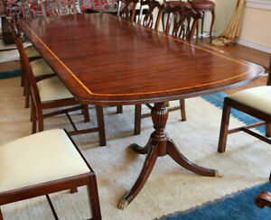 Gorgeous Ribbon Mahogany Satinwood Inlaid Dining Table W 2 Lvs 120 Inches X 46