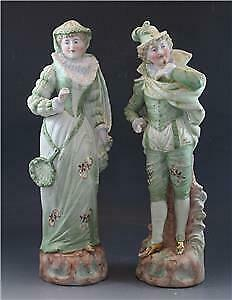 C1900 French Bisque Porcelain Pair Of Figurines Courting Couple Hand Painted