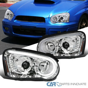 For 04 05 Subaru Impreza Wrx Led Drl Tube Clear Projector Head Lamps Signal Pair