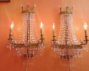 Antique 1920 S Art Deco Nouveau Crystal French Chandelier Style Sconces 2 Light