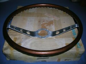 64 65 66 Chevy Corvair Nos Gm Box 16 Walnut Wood Grain 2 Spoke Steering Wheel