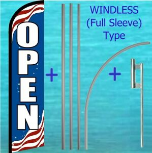 Open Patriotic Windless Banner Flag Pole Mount Kit Tall Flutter Feather Sign