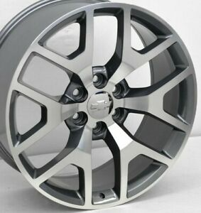 22 Gunmetal Cnc Chevy Honeycomb Replica Wheels 22x9 6x5 5 31mm Yukon Sierra