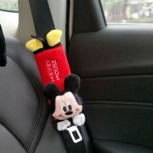 Mickey Mouse Car Seat Belt Cover Shoulder Pads 9 Disney Plush set Of 2