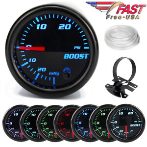 Boost Gauge 52mm Tinted 7 Color 0 30 Psi Pressure Turbo Meter 2 With Free Mount