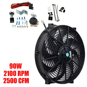 12v 90w Electric Radiator 14 fan Thermostat 2500cfm 3 pin Control Relay Wire Kit