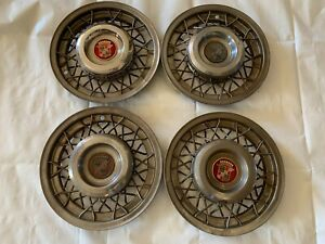 1950 1954 Cadillac Wire Wheel Hubcaps Covers Hub Caps Spoke Chrome Center Caps