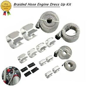 Braided Hose Stainless Steel Silver Engine Dress Up Kit Radiator Vacuum Fuel New
