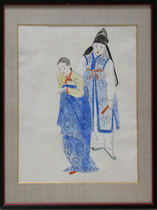 A Rare Korean Water Color Painting By Won Suk Yeon 1922 2003