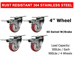 4 Pcs 4 Stainless Steel Swivel With Brake Caster Wheel Red Poly Casters Wheels