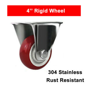 4 Stainless Steel Rigid Caster Wheel Poly Casters Wheels