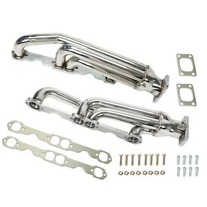 Twin Turbo Headers For Chevy Camaro Transam Firebird 350 305 T3 Sbc Gm Manifolds