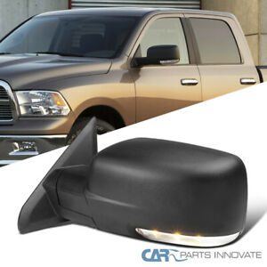 For 09 12 Dodge Ram 1500 Power Heated Driver Side Black Mirror Led Signal Puddle