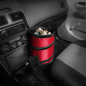 Auto Car Trash Can Portable Collapsible Waterproof Small Red