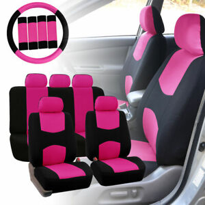 Car Seat Covers For Auto Pink W Steering Wheel Belt Pads