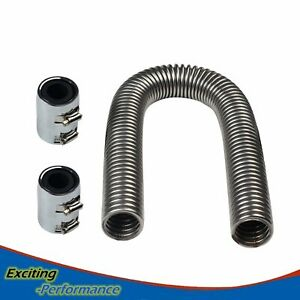 36 Chrome Flexible Stainless Steel Radiator Hose Kit Chrome Caps Universal
