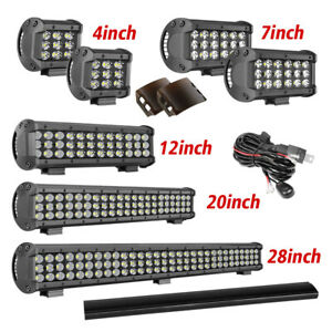 Tri Row 4 7 12 20 28 In Led Light Bar Cover Wiring Kit Combo Offroad Driving