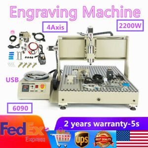 Usb 2 2kw 4axis 6090 Cnc Engraver Milling Drilling Machine Ball Screws Cutter