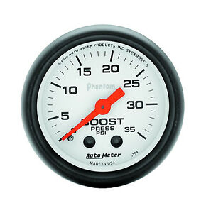 Autometer Phantom 2 1 16 Mechanical Boost Pressure Gauge 0 35 Psi 52mm