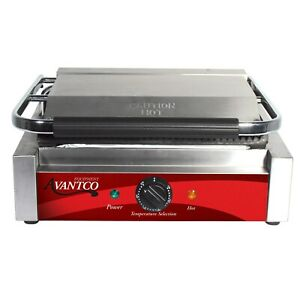 Commercial Restaurant Panini Sandwich Grill Griddle Press With Grooved Plates