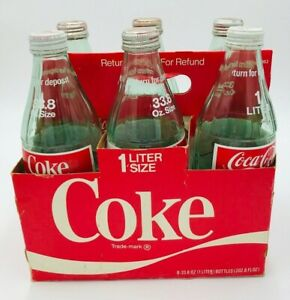 6 Vintage Coca Cola 1 Liter - 33.8 Ounce Size Glass Bottles W/Lids and Case