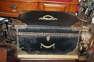 Antique French Victorian Leather Wood Storage Chest Trunk Metal Accents