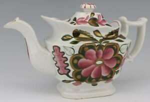 Antique Gaudy English Staffordshire Pearlware Teapot C 1830 Remarkable Condition