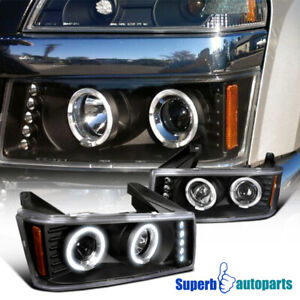 For 2004 2012 Chevy Colorado Halo Led Drl Strip Projector Headlights Black