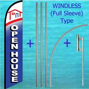 Open House Windless Banner Flag Pole Mount Kit Tall Advertising Feather Sign