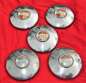 Vintage Jeep Hubcaps set Of 5