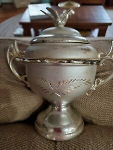 Vintage Antique Victorian Silver Plate Bird Spoon Holder W Spoons