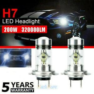 2x H7 Led Headlight High Low Beam Bulb Kit 6000k White 200w 320000lm Fog Light