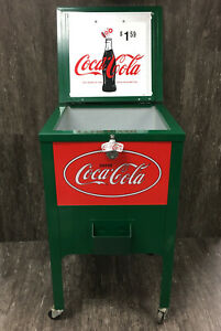 Vintage Coca Cola Ice Chest Metal Cooler Green Red Sign Bottle Opener Coke Nice!