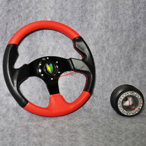 320mm Red Pvc Black Caron Look 6 bolt Racing Steering Wheel Horn Hub Adapter