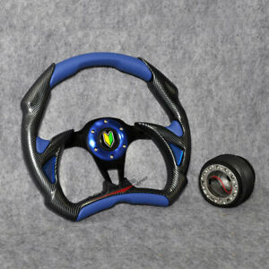 Fit Battle Type 32cm Carbon Fiber Blue Pvc Leather Steering Wheel Hub Adapter Vw