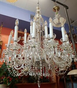 18 Arm Vintage Chrystal Chandelier 60 By 36 Lots Of Crystal Prisms