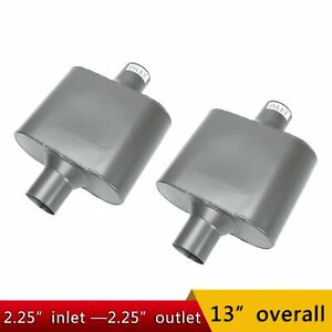 Pair Of 2 25 In Out Center Performance Race Chambered Mufflers Universal