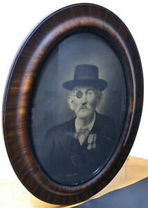 Vintage Eye Patch Man Convex Bubble Glass Oval Tiger Wood Frame Gesso Nice Prop