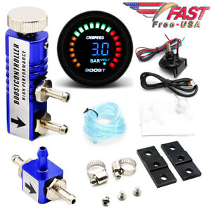 0 3 Bar Manual Boost Controller Kit Blue With 52mm Electronic Boost Gauge Usa