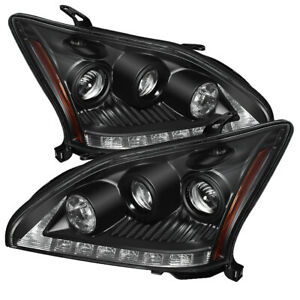 Fit Lexus 04 06 Rx330 Black Drl Led Projector Headlights Factory Hid Models Only