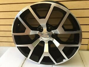 20 Gmc Sierra Wheels Black Machined Fits Chevy Silverado Suburban Tahoe New